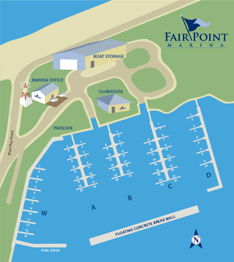 Dock map of Fair Point Marina