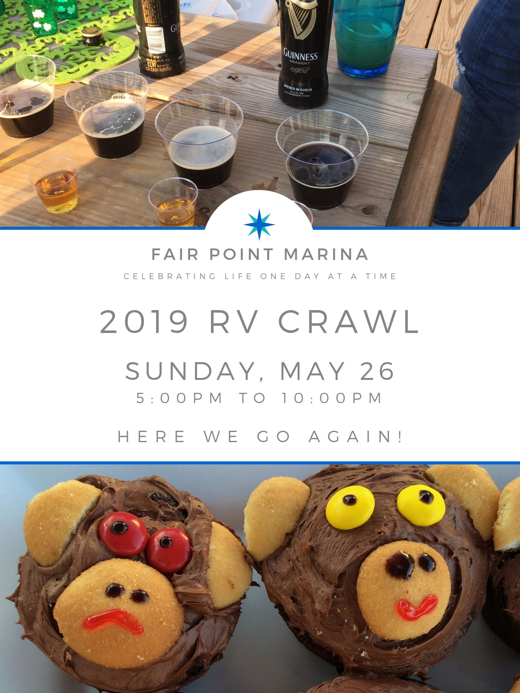 Event flyer for the Fair Point Marina 2019 RV Crawl