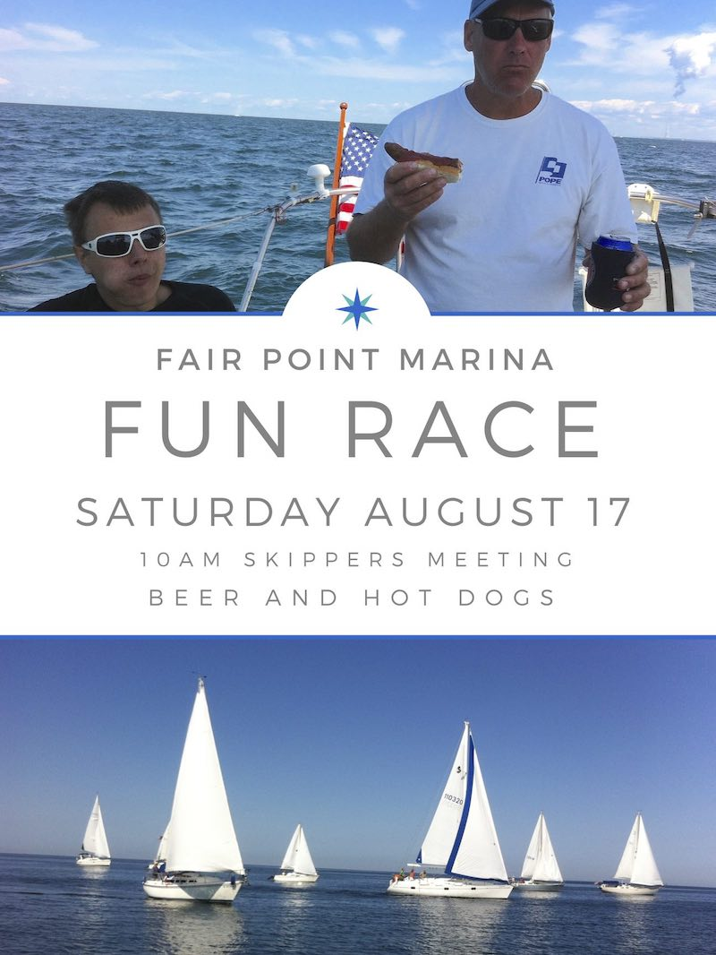 Event flyer for Fair Point Marina sailboat race on Lake Ontario