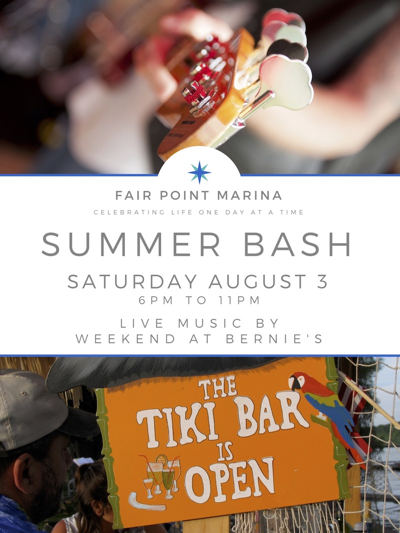 Event flyer for the Fair Point Marina Summer Bash