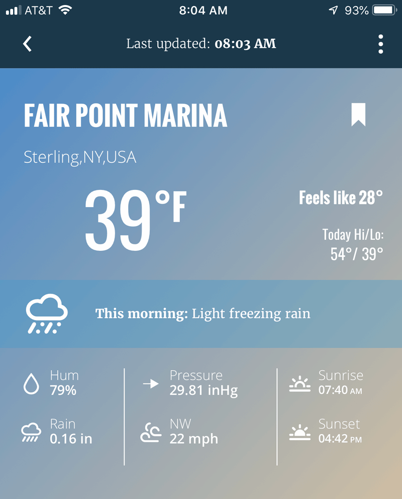 Picture of mobile weather app for Lake Ontario weather at Fair Haven