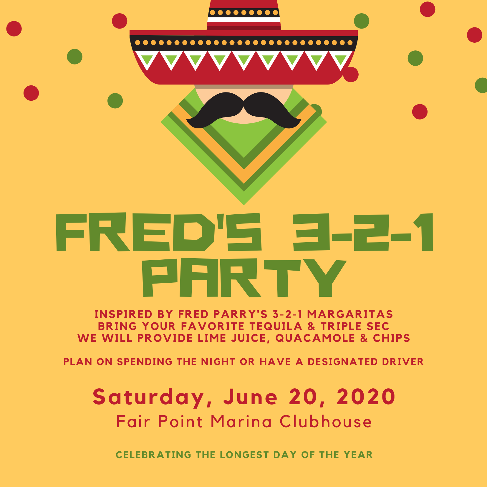 Poster for Fred's 3-2-1 Party at Fair Point Marina on June 20